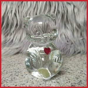Other - Beautiful solid glass bear with ruby heart